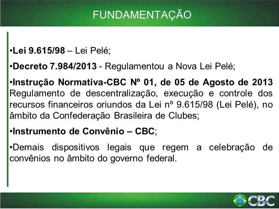 FUNDAMENTAÇÃO Lei 9.615/98 – Lei Pelé;