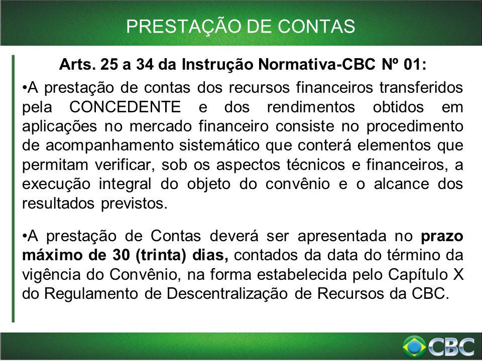 Arts. 25 a 34 da Instrução Normativa-CBC Nº 01: