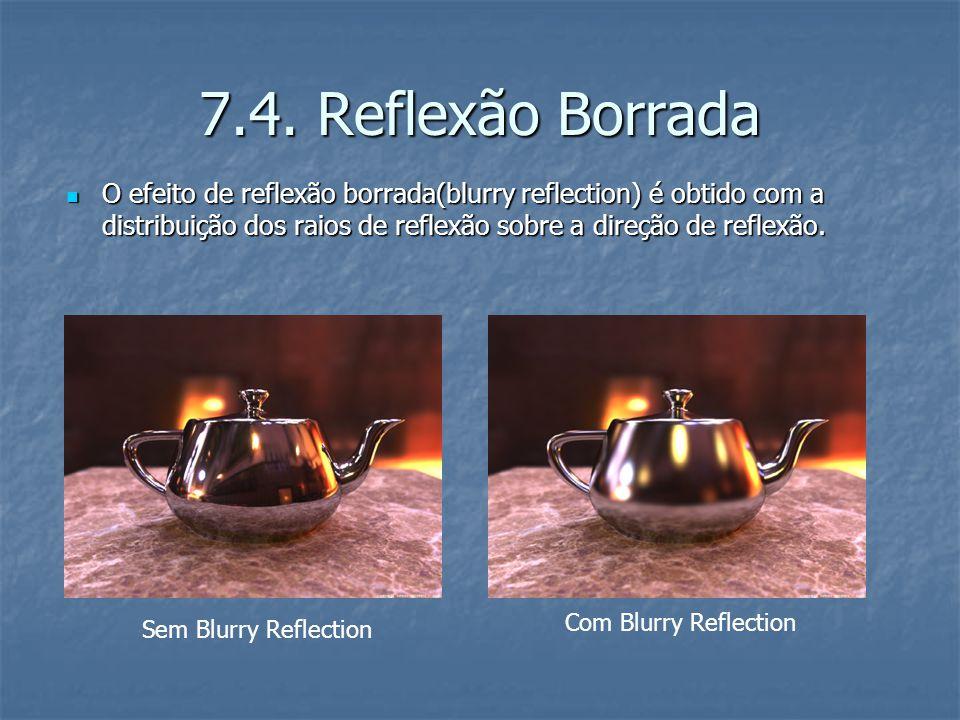 7.4. Reflexão Borrada O efeito de reflexão borrada(blurry reflection) é obtido com a distribuição dos raios de reflexão sobre a direção de reflexão.