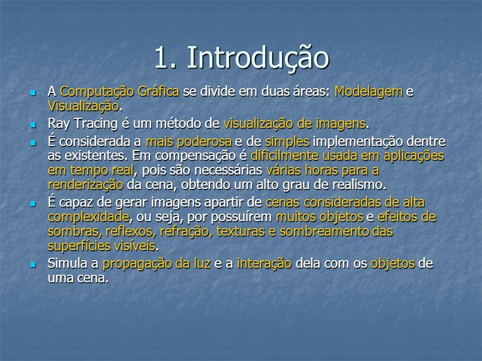 1. Introdução A Computação Gráfica se divide em duas áreas: Modelagem e Visualização. Ray Tracing é um método de visualização de imagens.