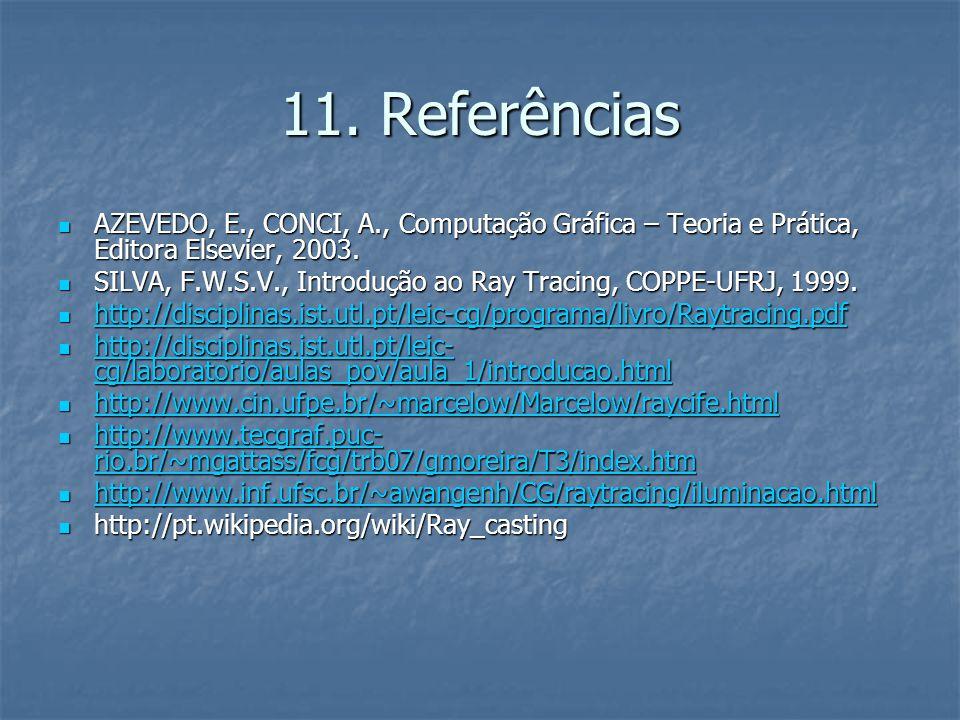 11. Referências AZEVEDO, E., CONCI, A., Computação Gráfica – Teoria e Prática, Editora Elsevier, 2003.