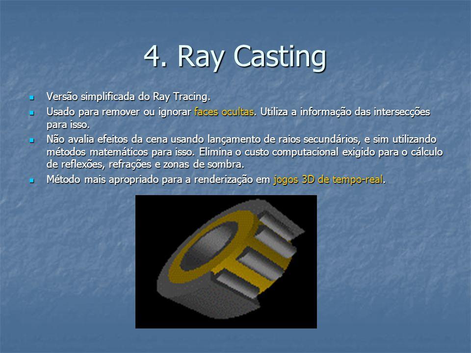 4. Ray Casting Versão simplificada do Ray Tracing.