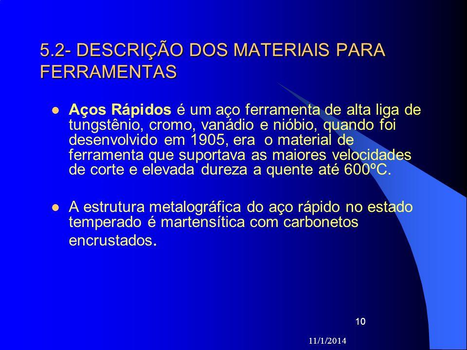 5.2- DESCRIÇÃO DOS MATERIAIS PARA FERRAMENTAS
