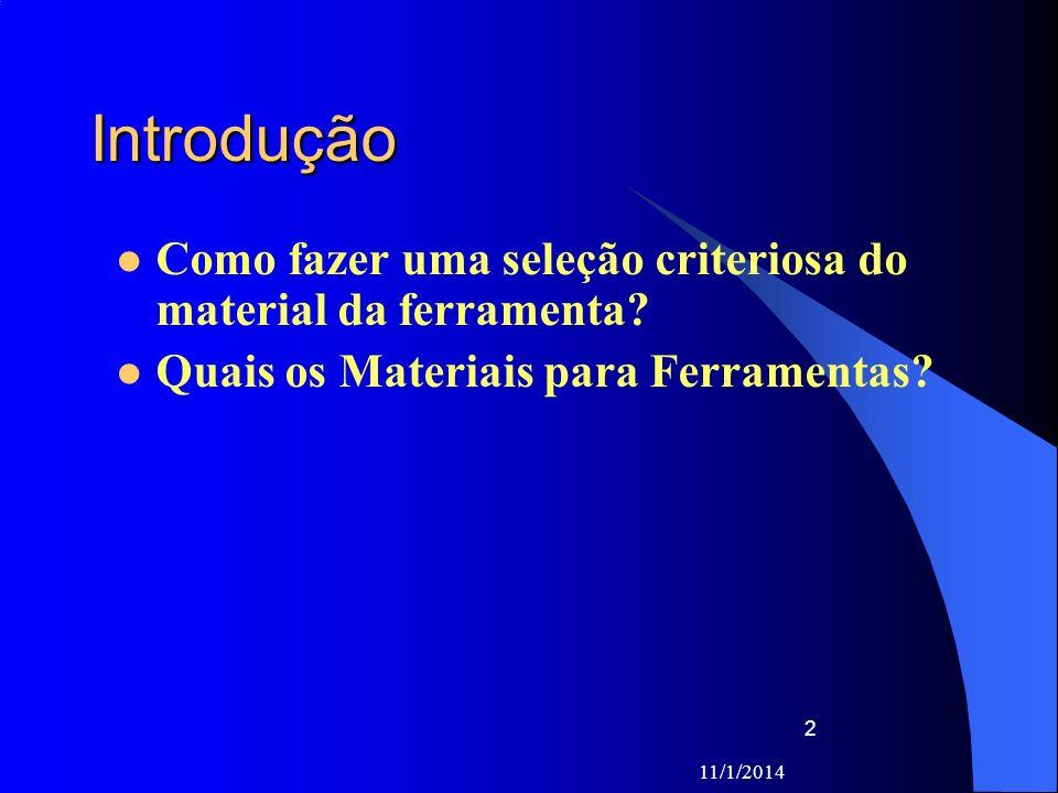 Introdução Como fazer uma seleção criteriosa do material da ferramenta Quais os Materiais para Ferramentas