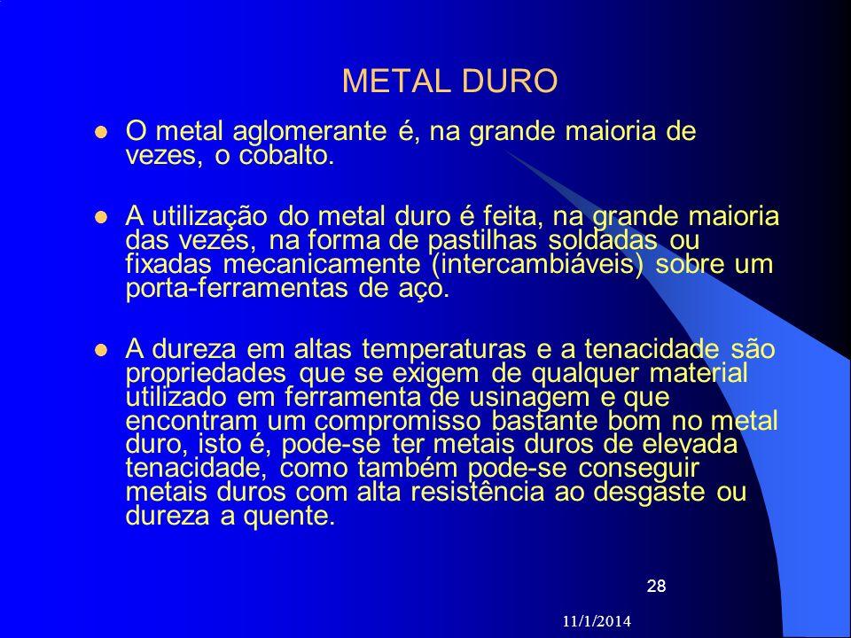 METAL DURO O metal aglomerante é, na grande maioria de vezes, o cobalto.