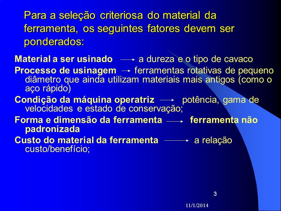 Para a seleção criteriosa do material da ferramenta, os seguintes fatores devem ser ponderados: