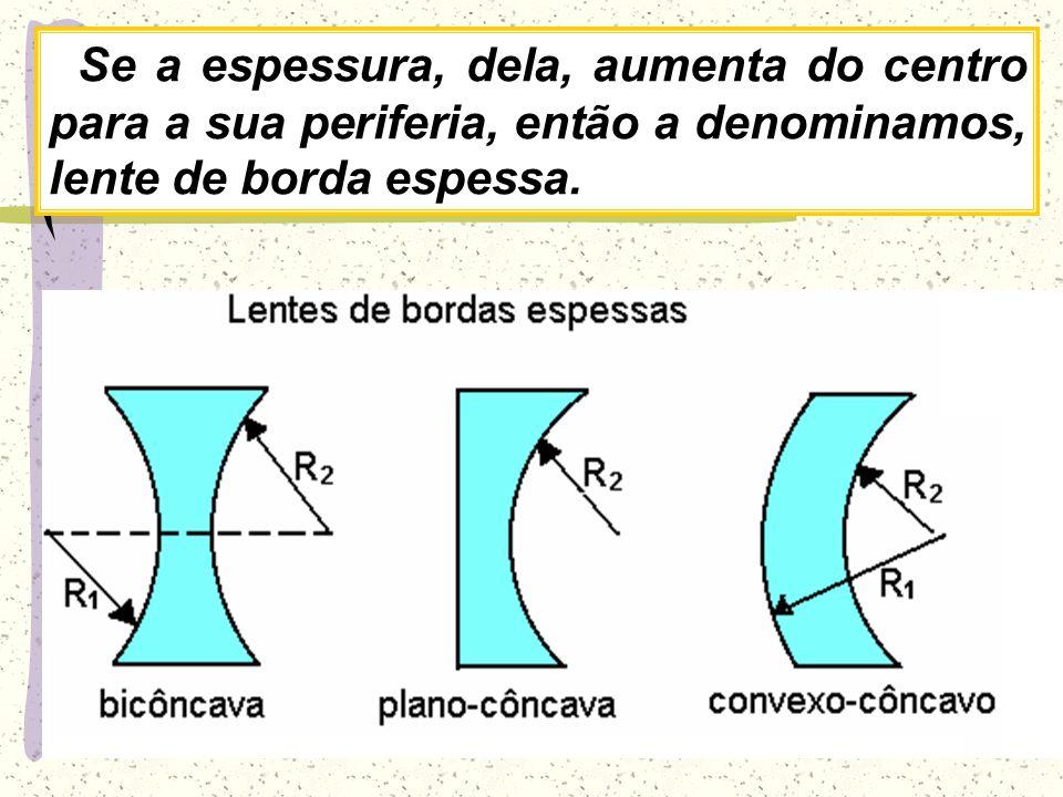 08/04/2017 Se a espessura, dela, aumenta do centro para a sua periferia, então a denominamos, lente de borda espessa.