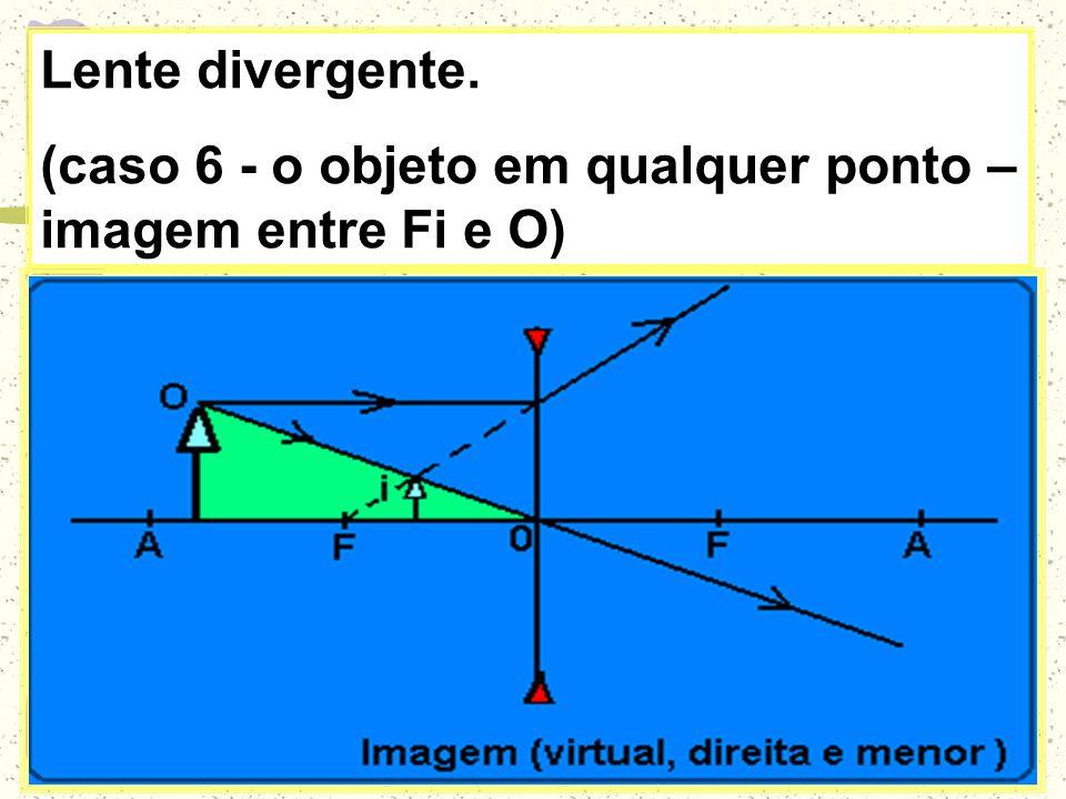 Lente divergente. (caso 6 - o objeto em qualquer ponto – imagem entre Fi e O)