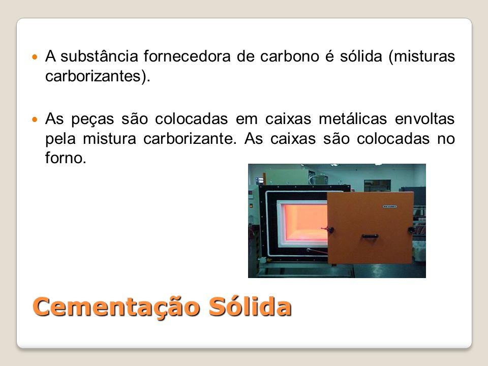 A substância fornecedora de carbono é sólida (misturas carborizantes).