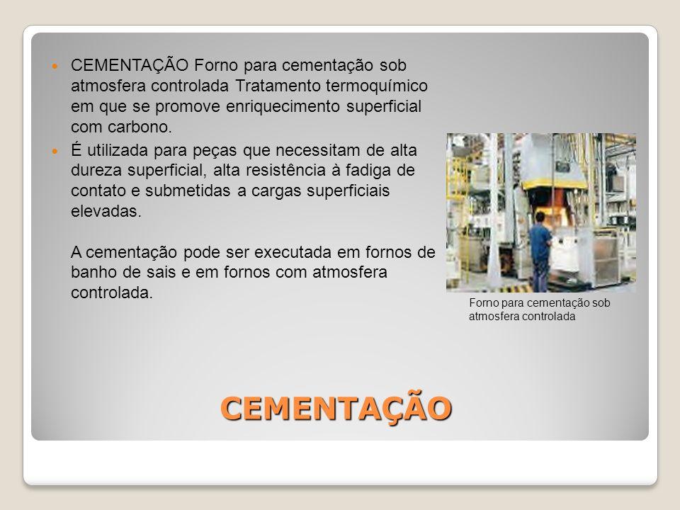 CEMENTAÇÃO Forno para cementação sob atmosfera controlada Tratamento termoquímico em que se promove enriquecimento superficial com carbono.