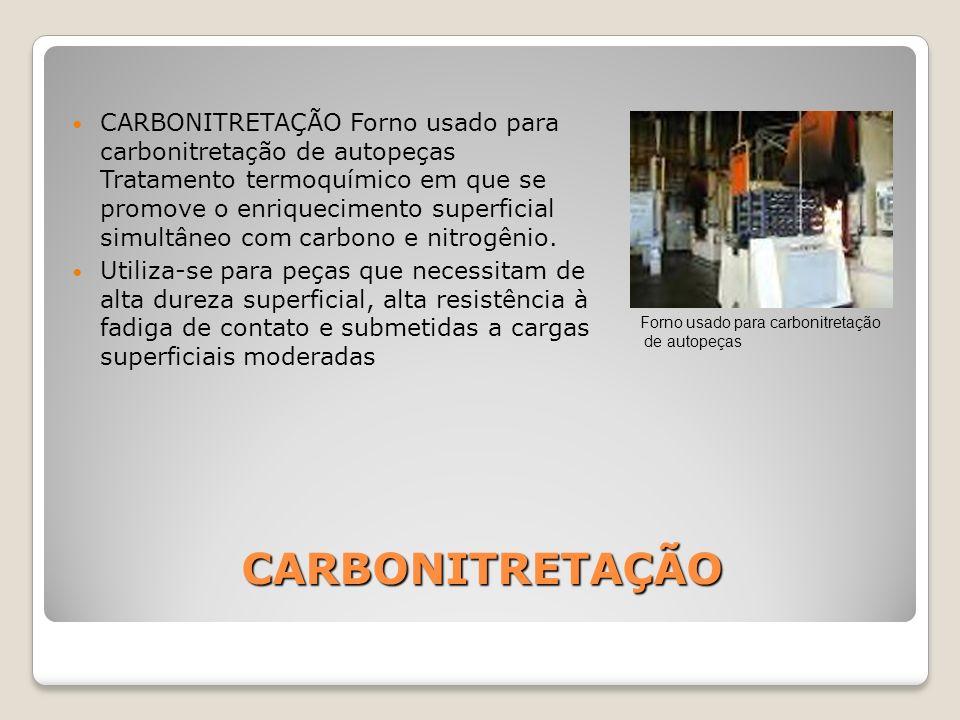 CARBONITRETAÇÃO Forno usado para carbonitretação de autopeças Tratamento termoquímico em que se promove o enriquecimento superficial simultâneo com carbono e nitrogênio.