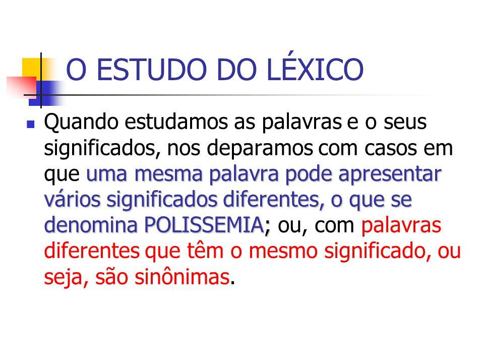 O ESTUDO DO LÉXICO