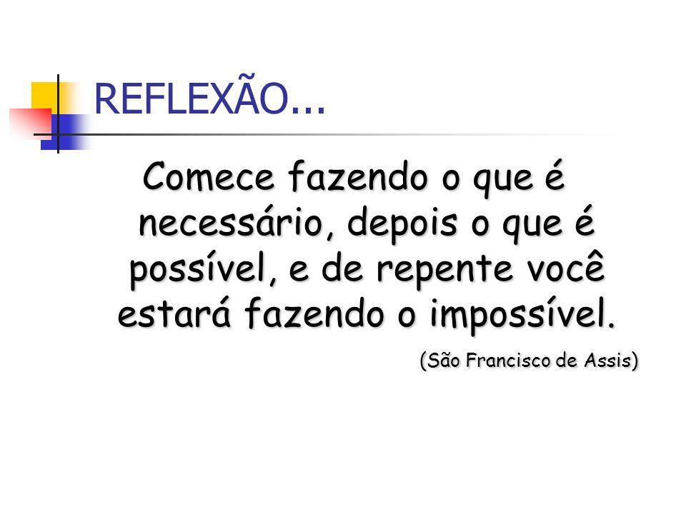 REFLEXÃO... Comece fazendo o que é necessário, depois o que é possível, e de repente você estará fazendo o impossível.