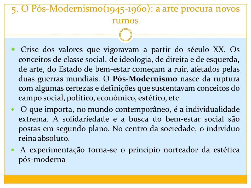 5. O Pós-Modernismo(1945-1960): a arte procura novos rumos