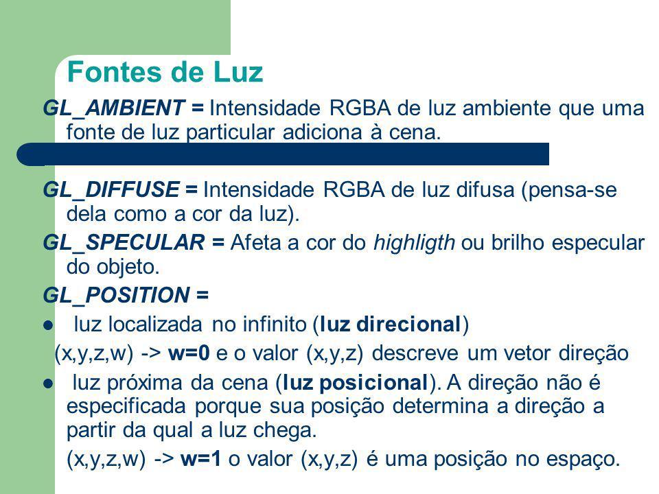 Fontes de Luz GL_AMBIENT = Intensidade RGBA de luz ambiente que uma fonte de luz particular adiciona à cena.