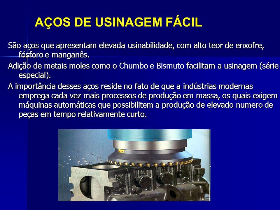 AÇOS DE USINAGEM FÁCIL São aços que apresentam elevada usinabilidade, com alto teor de enxofre, fósforo e manganês.