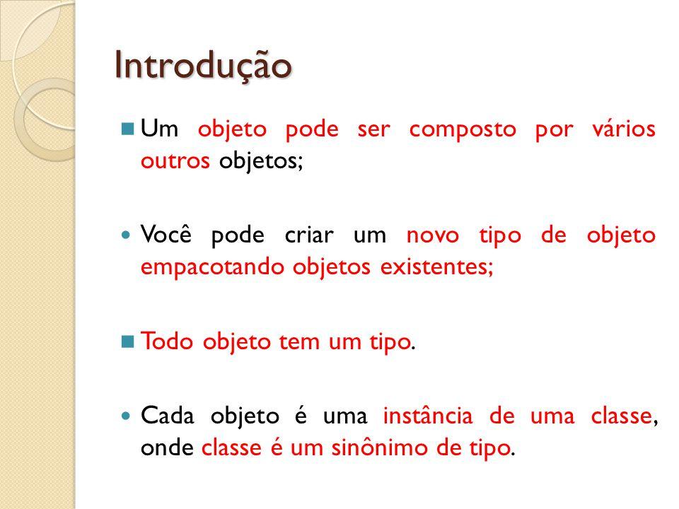 Introdução Um objeto pode ser composto por vários outros objetos;