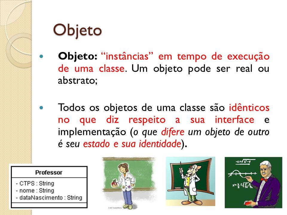 Objeto Objeto: instâncias em tempo de execução de uma classe. Um objeto pode ser real ou abstrato;