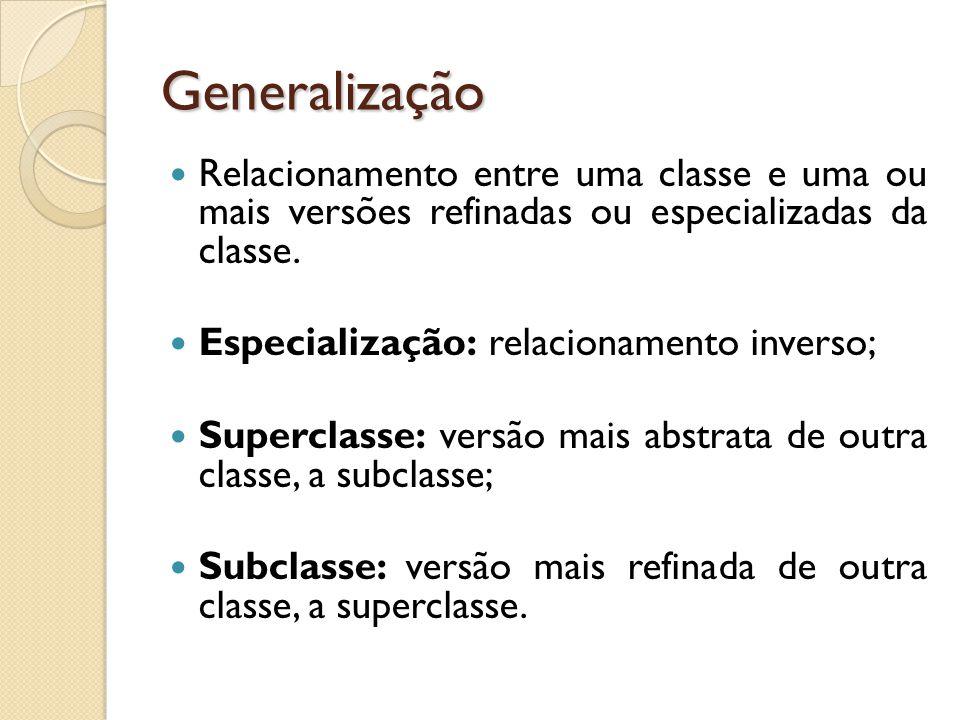 Generalização Relacionamento entre uma classe e uma ou mais versões refinadas ou especializadas da classe.