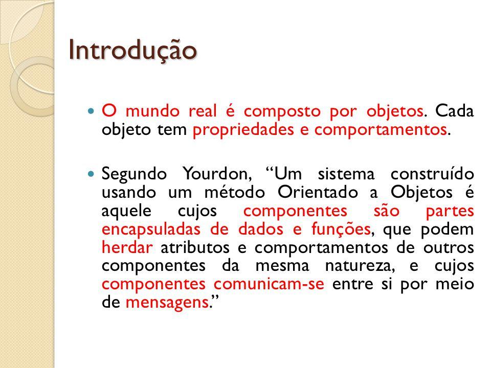 Introdução O mundo real é composto por objetos. Cada objeto tem propriedades e comportamentos.