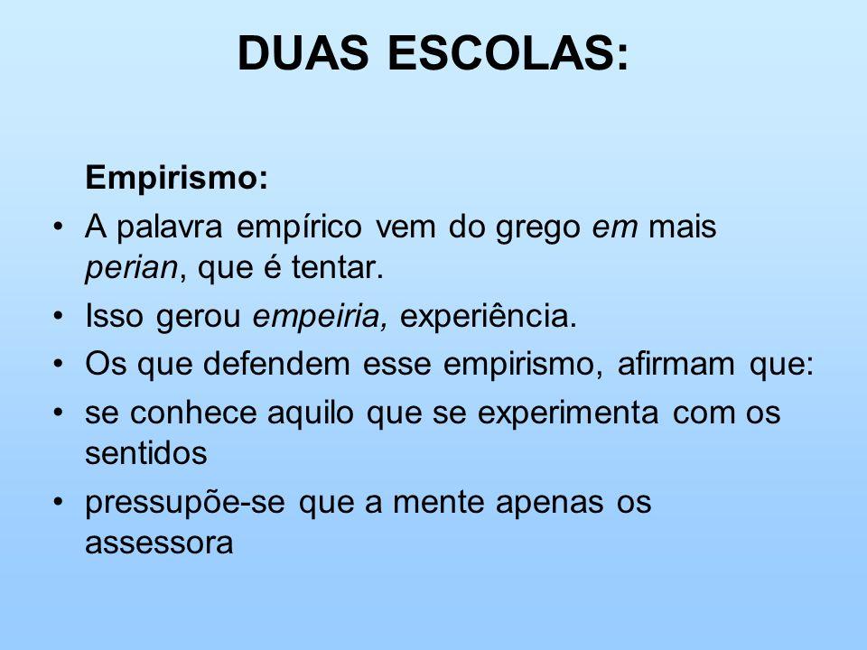 DUAS ESCOLAS: Empirismo: