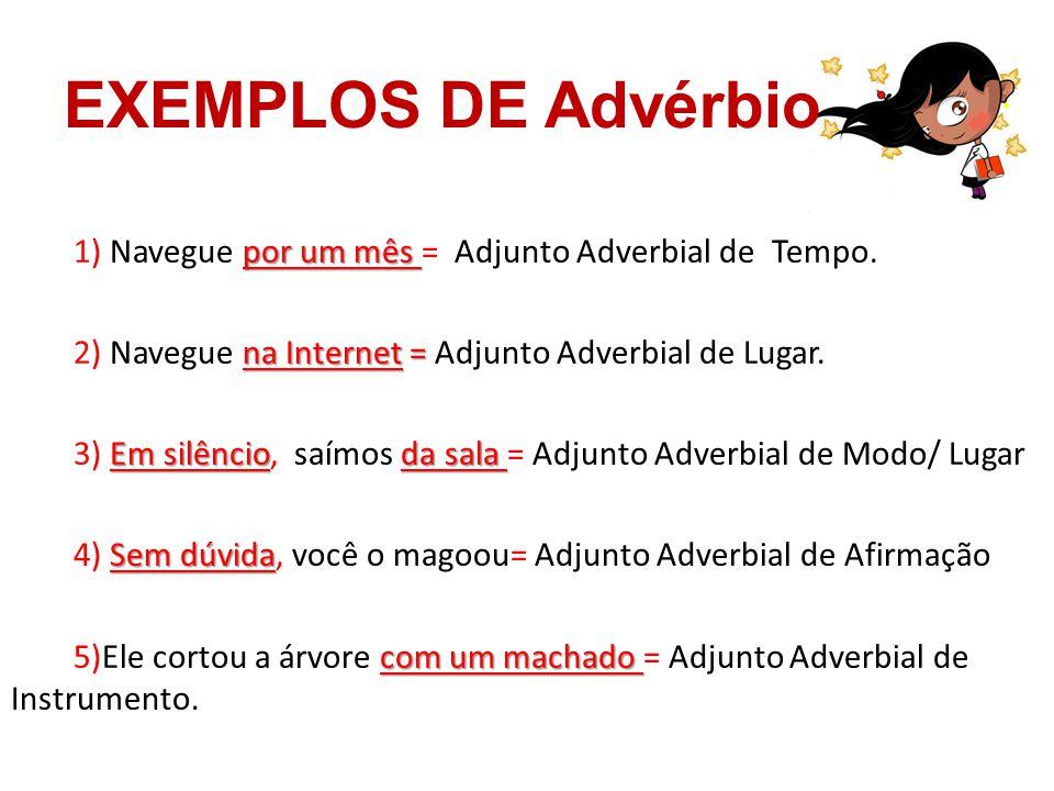 EXEMPLOS DE Advérbio