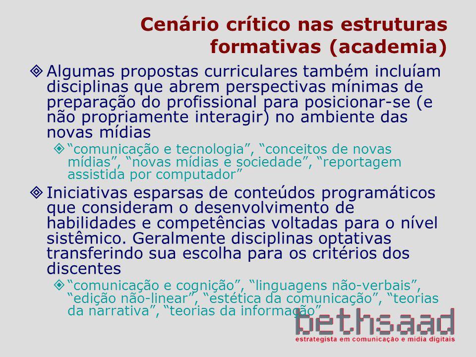 Cenário crítico nas estruturas formativas (academia)