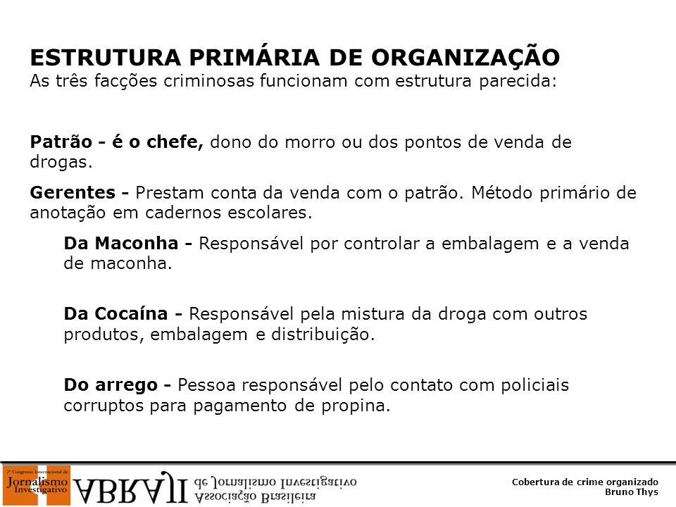 ESTRUTURA PRIMÁRIA DE ORGANIZAÇÃO As três facções criminosas funcionam com estrutura parecida: