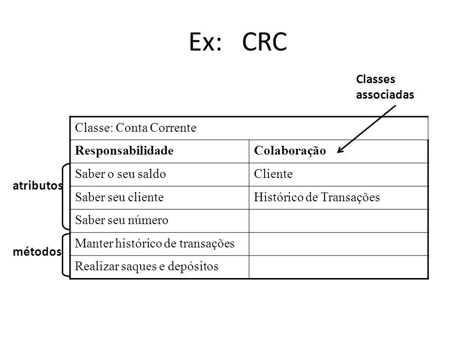 Ex: CRC Classes associadas Classe: Conta Corrente Responsabilidade