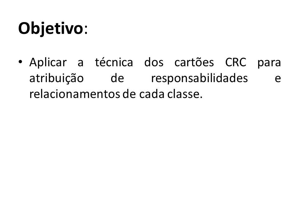 Objetivo: Aplicar a técnica dos cartões CRC para atribuição de responsabilidades e relacionamentos de cada classe.