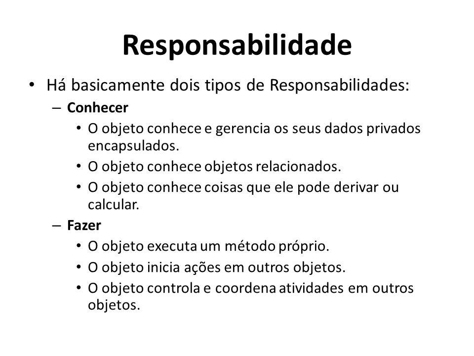 Responsabilidade Há basicamente dois tipos de Responsabilidades: