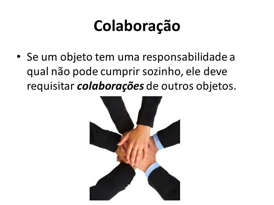Colaboração Se um objeto tem uma responsabilidade a qual não pode cumprir sozinho, ele deve requisitar colaborações de outros objetos.