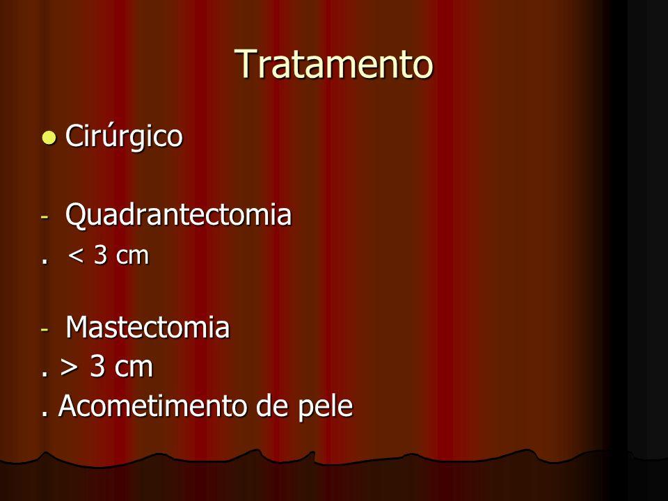 Tratamento Cirúrgico Quadrantectomia . < 3 cm Mastectomia