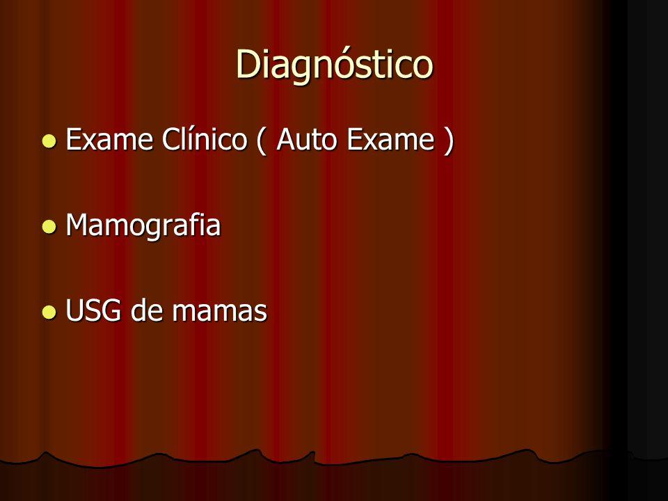 Diagnóstico Exame Clínico ( Auto Exame ) Mamografia USG de mamas