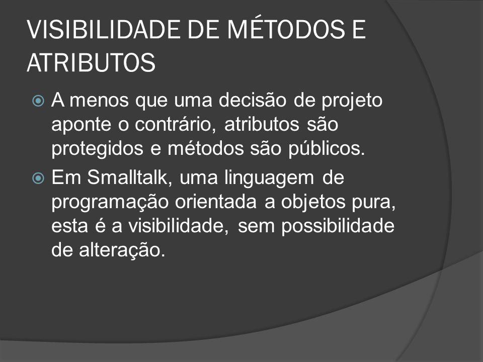 VISIBILIDADE DE MÉTODOS E ATRIBUTOS