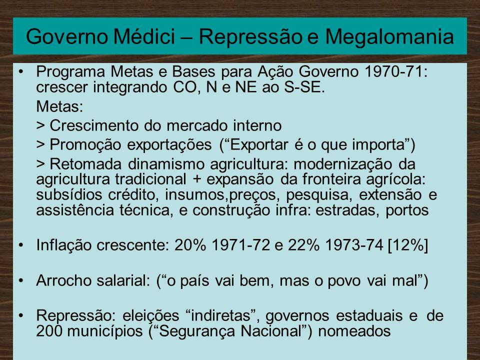 Governo Médici – Repressão e Megalomania