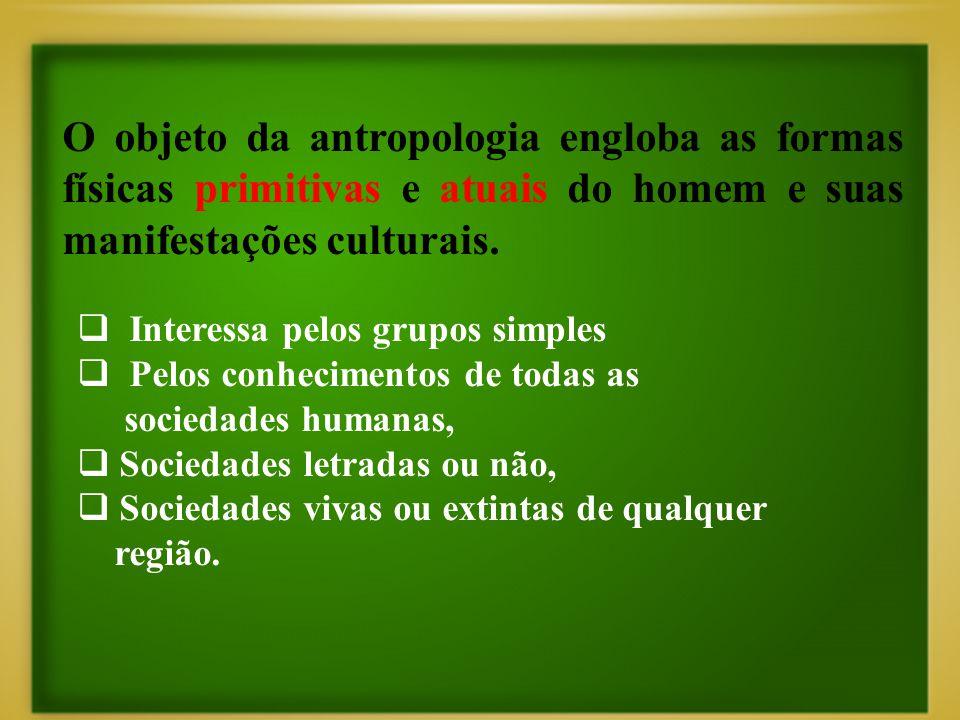 O objeto da antropologia engloba as formas físicas primitivas e atuais do homem e suas manifestações culturais.