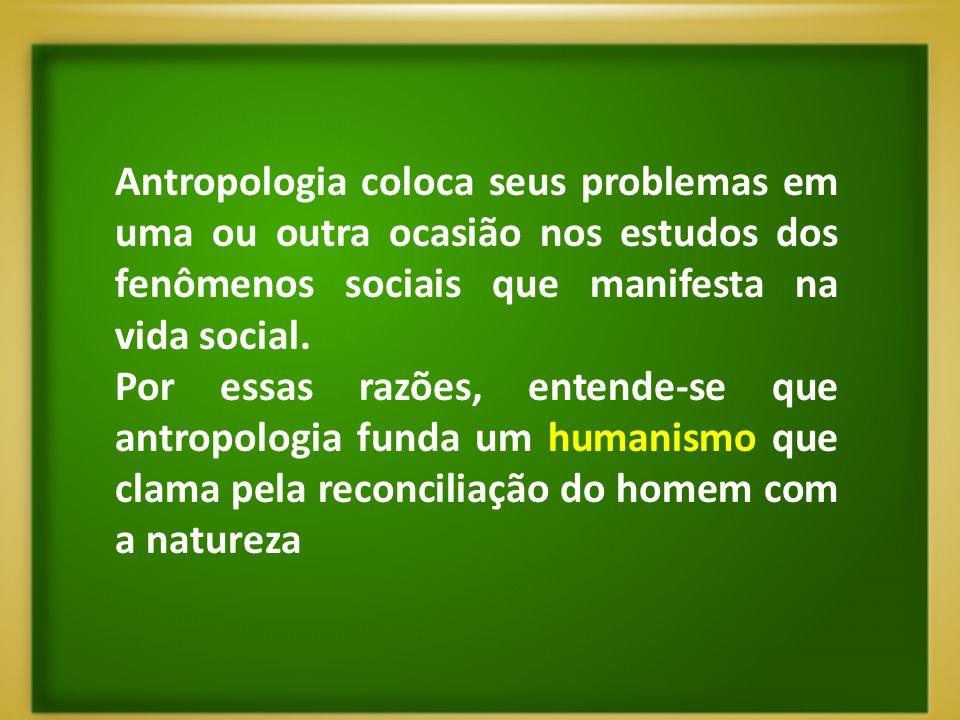 Antropologia coloca seus problemas em uma ou outra ocasião nos estudos dos fenômenos sociais que manifesta na vida social.