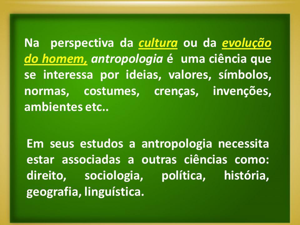 Na perspectiva da cultura ou da evolução do homem, antropologia é uma ciência que se interessa por ideias, valores, símbolos, normas, costumes, crenças, invenções, ambientes etc..
