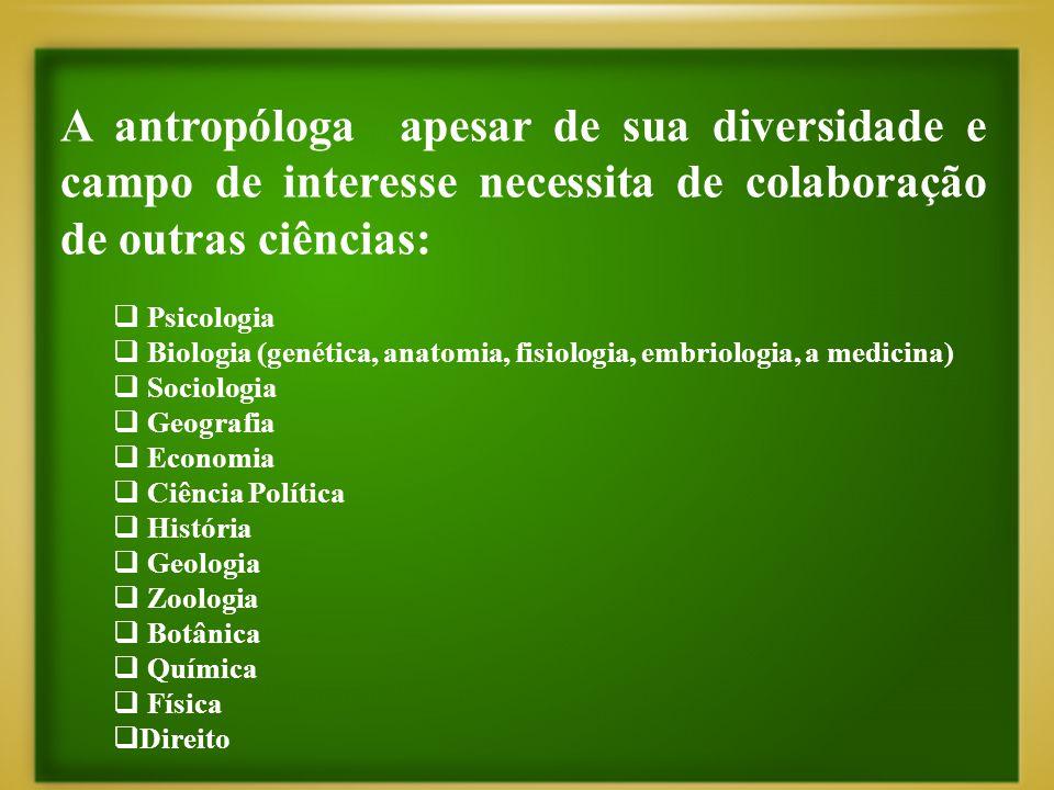 A antropóloga apesar de sua diversidade e campo de interesse necessita de colaboração de outras ciências: