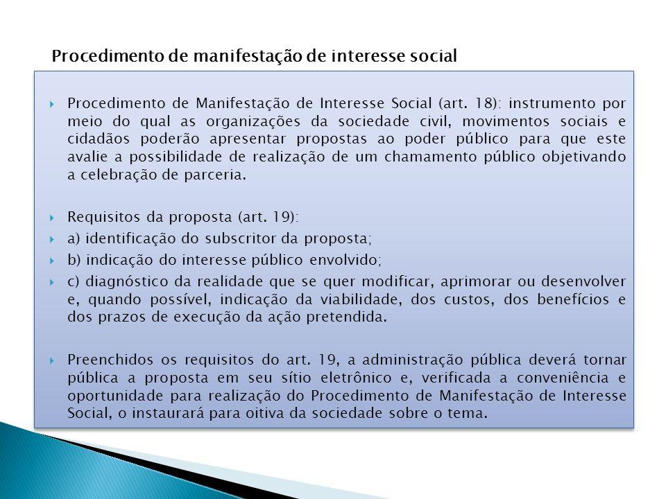 Procedimento de manifestação de interesse social