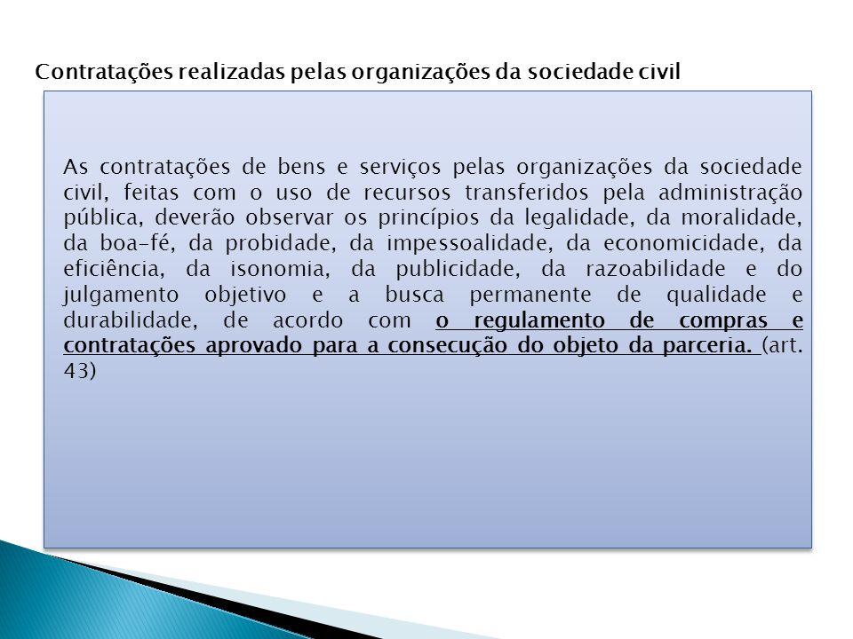 Contratações realizadas pelas organizações da sociedade civil