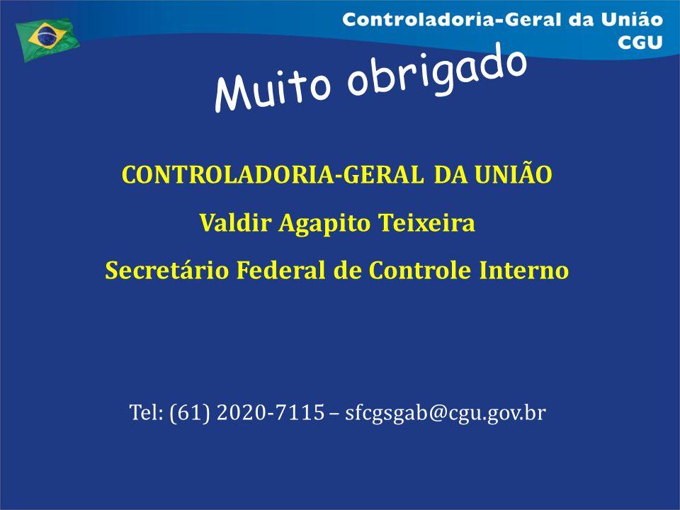 Muito obrigado CONTROLADORIA-GERAL DA UNIÃO Valdir Agapito Teixeira