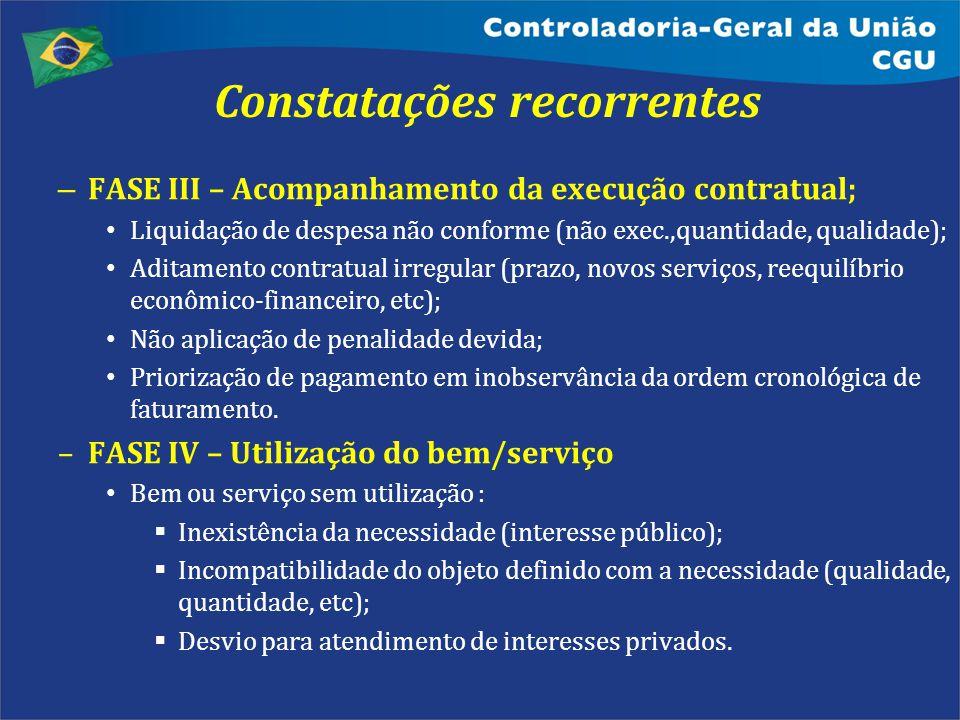 Constatações recorrentes