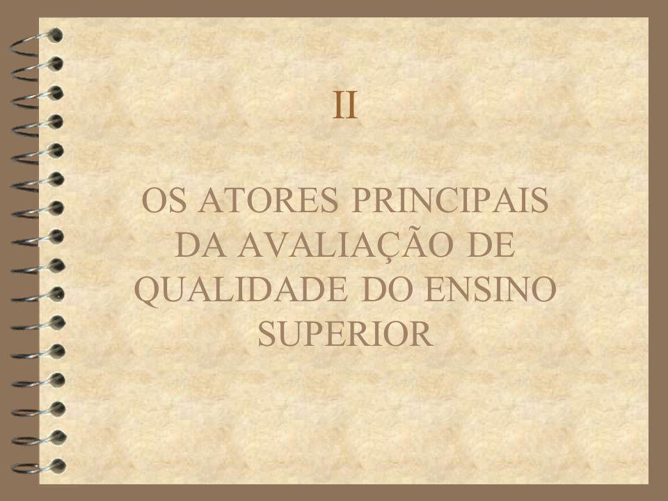 OS ATORES PRINCIPAIS DA AVALIAÇÃO DE QUALIDADE DO ENSINO SUPERIOR