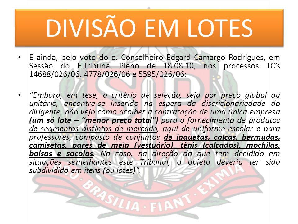 DIVISÃO EM LOTES