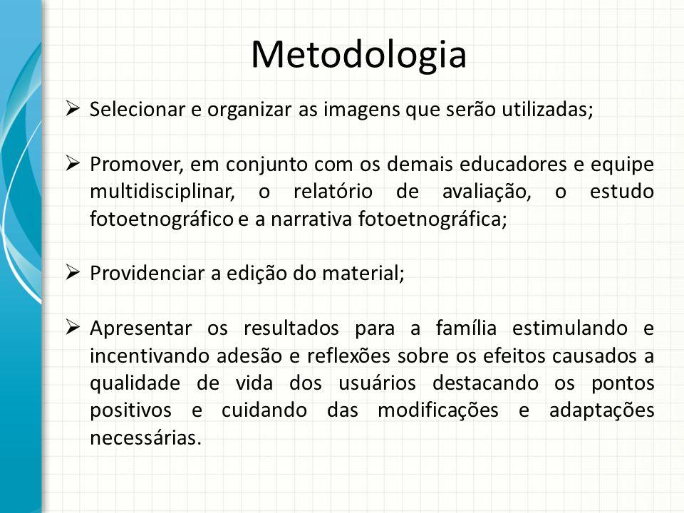 Metodologia Selecionar e organizar as imagens que serão utilizadas;
