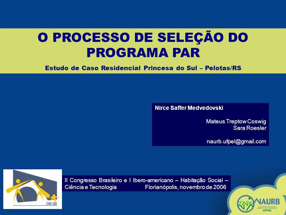 O PROCESSO DE SELEÇÃO DO PROGRAMA PAR