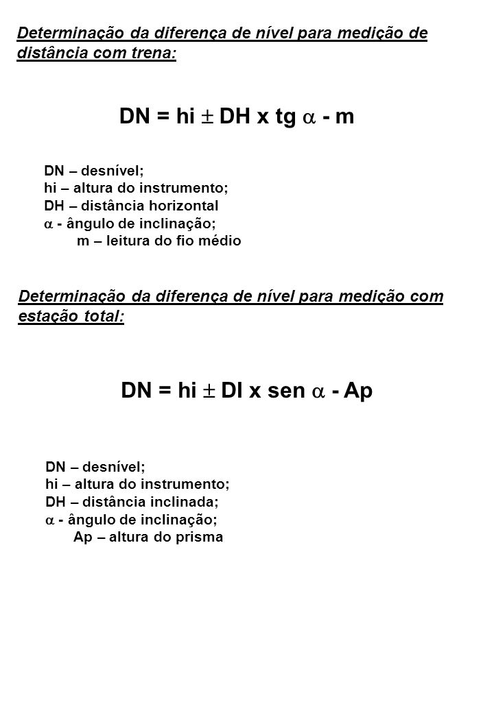 DN = hi  DH x tg  - m DN = hi  DI x sen  - Ap