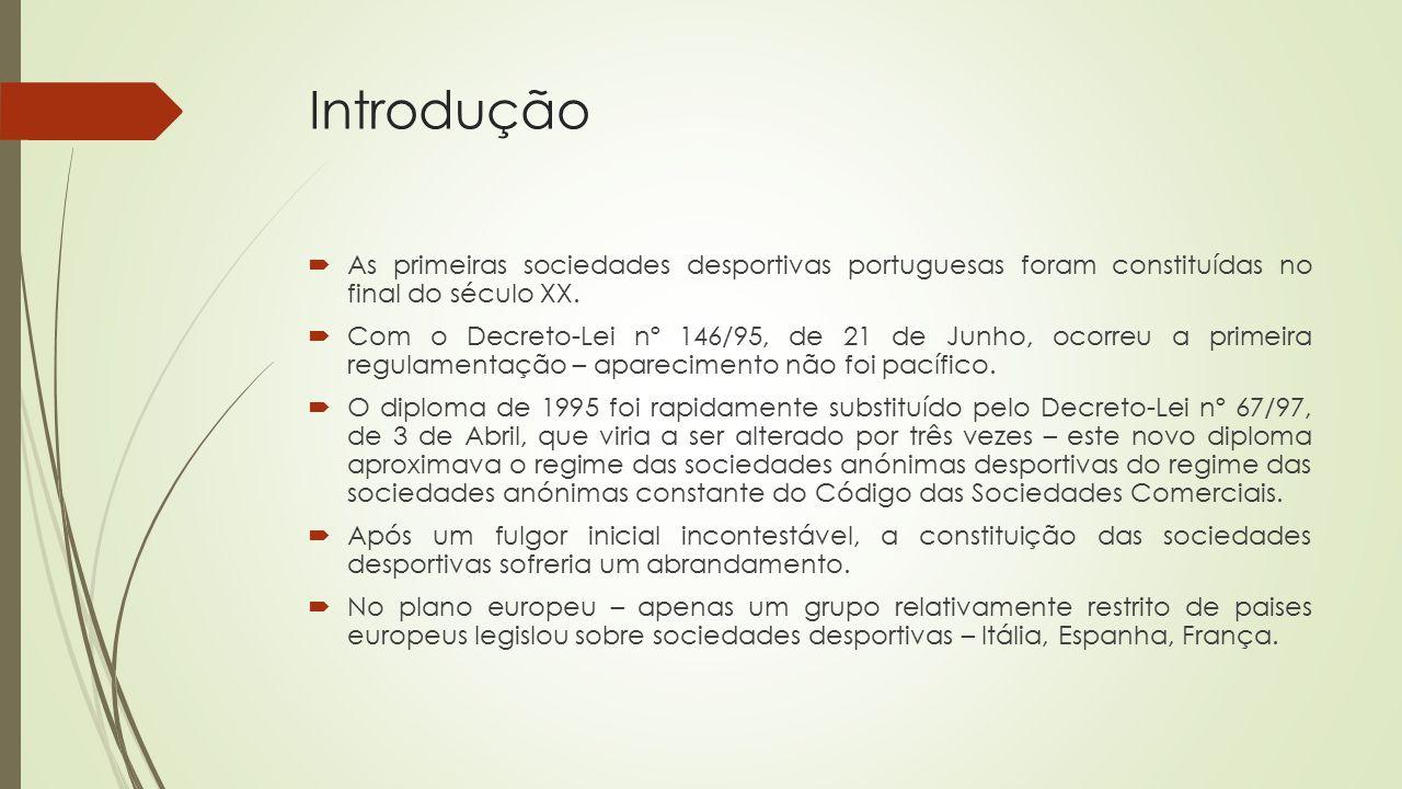 Introdução As primeiras sociedades desportivas portuguesas foram constituídas no final do século XX.